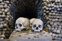 Skulls and Bones. The Sedlec Ossuary is a small Roman Catholic chapel, located beneath the Cemetery Church of All Saints in Sedlec, a suburb of Kutná Hora in Stock Image