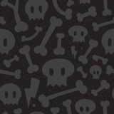 Skulls and bones black pattern Stock Image