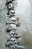 Skulls and bones in the bone chapel in Kutna Hora, Czech Republic Stock Image