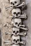 Skulls and bones in bone chapel-Sedlec, Kutna Hora Royalty Free Stock Photos