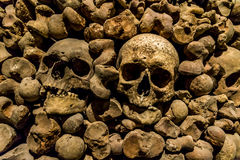 Skulls and bones from charnel house. Skulls and bones from the charnel house royalty free stock image