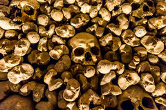 Skulls and bones from charnel house. Skulls and bones from the charnel house stock photography