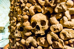 Skulls and bones from charnel house. Skulls and bones from the charnel house stock photos