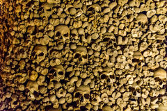 Skulls and bones from charnel house. Skulls and bones from the charnel house royalty free stock photos