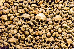 Skulls and bones from charnel house. Skulls and bones from the charnel house royalty free stock images