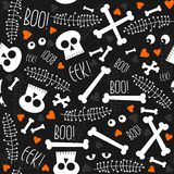 Skulls bones eyes hearts seamless Royalty Free Stock Photo