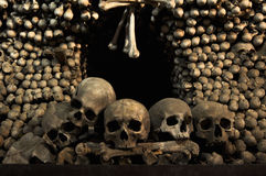 SKULLS AND BONES. Human skulls and bones in Kutna Hora, Czech Republic Royalty Free Stock Image