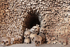 Skulls and bones. Human skulls and bones at the museum of Kutna Hora, Czech Republic Royalty Free Stock Photos