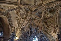Skulls and bones , interior Sedlec ossuary. Kutna Hora, Czech Republic Royalty Free Stock Image