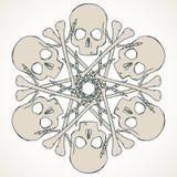Skulls and bones jolly snowlake Stock Images