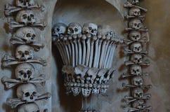 Skulls and bones. At Kutna Hora bone church stock photos