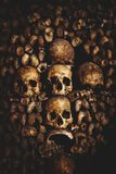 Skulls and bones in Paris Catacombs. France Royalty Free Stock Images