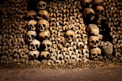 Skulls and bones in Paris Catacombs. France Stock Image