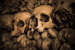 Skulls and bones in Paris Catacombs Royalty Free Stock Photos