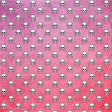 Skulls and Bones Pattern Pink Ombre Background royalty free illustration