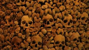 Skulls and bones in a wall. Wall made of human bones stock video footage