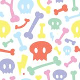Skulls and bones white pattern Stock Photography