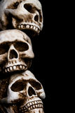 Skulls border. A pile of human skulls stock photography