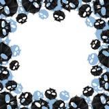 Skulls border made in contemporary geometric style, vector backg Stock Photos