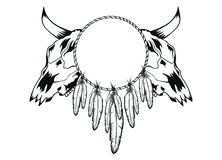 Skulls bull and tambourine Royalty Free Stock Images
