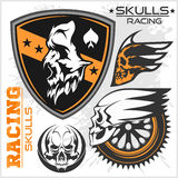 Skulls and car racing symbols Stock Photography
