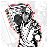 Skulls carry a tape recorder with spray paint vector. Hand drawing,Shirt designs, biker, disk jockey, gentleman, barber and many others stock illustration