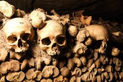 Skulls in a catacomb royalty free stock image