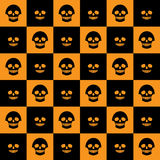 Skulls chess pattern flat. Vector Halloween seamless checkered pattern with skulls. Orange and black colors Royalty Free Stock Photos