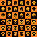 Skulls chess pattern gradient. Vector Halloween seamless checkered pattern with skulls. Yellow-orange gradients and black color Royalty Free Stock Images