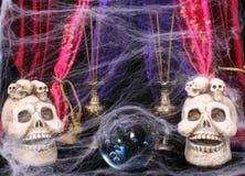 Skulls with Cobwebs. Crystal Ball with Skulls and Cobwebs Stock Image