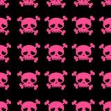 Skulls on crossbones. Black and pink seamless pattern royalty free illustration
