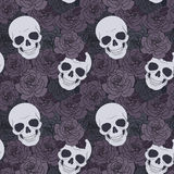 Skulls and dark roses Stock Photo