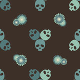 Skulls decorative pattern. Brown and green pattern with funny skulls and flowers Stock Photos