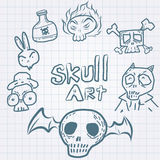Skulls doodles vector set Stock Photos