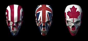 Skulls flags. 3D rendered set of skulls with USA, UK and Canadian flag Stock Photos