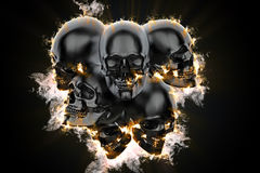 Skulls in flame. 3d illustration Stock Photography