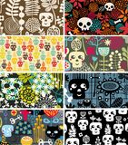 Skulls and flowers cards. Stock Image