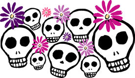 Skulls and Flowers. Illustration of Skulls and Flowers inspired by the Day of the Dead Celebration Stock Photos