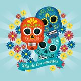 Skulls with flowers and ribbon to traditional event. Vector illustration royalty free illustration