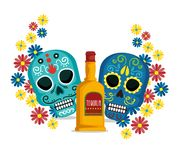 Skulls with flowers and tequila to mexican event. Vector illustration vector illustration