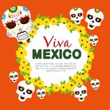 Skulls with flowers to celebrate day of the dead event. Vector illustration stock illustration