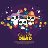 Skulls with flowers to day of the dead event. Vector illustration stock illustration