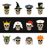 Skulls with hat, helmet, cap, bandanna and crown Stock Images
