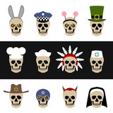 Skulls with hats and caps Royalty Free Stock Photo