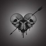 Skulls heart with arrow illustration Stock Image