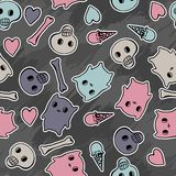 Skulls, and hearts on black background - seamless Stock Photos