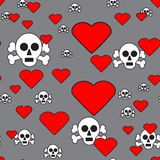 Skulls and Hearts on Gray Seamless Pattern Stock Image