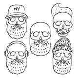 Skulls with Hipster hair and beards. Line skull.Fashion vector illustration set.Retro vector design graphic element, badge, logotype, poster,emblem, logo Royalty Free Stock Photos