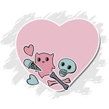 Skulls, Ice Cream and hearts on grunge background Royalty Free Stock Photo