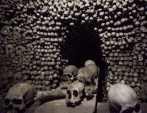 Skulls in Kostnice church in the Czech republic town of Kutna Hora. Czech landmarks.  royalty free stock photography